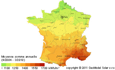 Carte de france de l'ensoleillement
