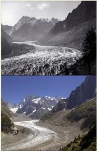 Fonte de glacier dans les Alpes