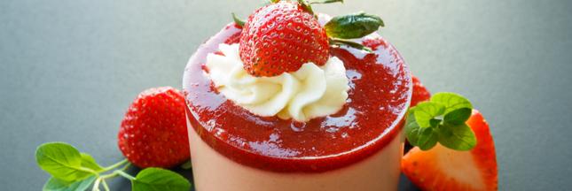 Dessert bio. Trio mousseux fraise-rhubarbe-basilic