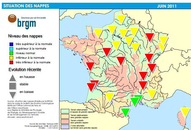carte nappe phréatique france La carte des nappes phréatiques : la sécheresse