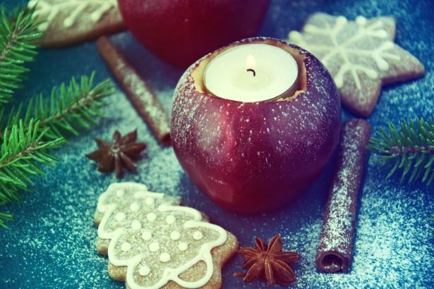 déco de table, fruits, pommes, petits gâteaux
