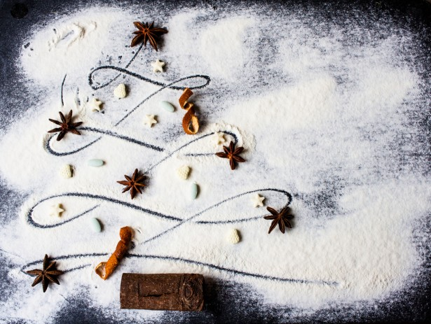 déco de table, Noël, neige, farine