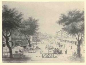 La Canebière en 1808, haut lieu de l'activité des cordiers qui travaillaient le chanvre.