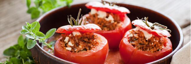 Tomates farcies au riz rouge