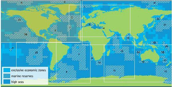 La carte mondiale des réserves marines dressée par Greenpeace