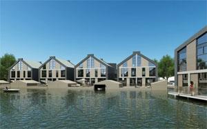 Des appartements flottants aux Pays-Bas. Photo: inhabitat.com