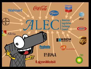 Animation du dessinateur américain Mark Fiore contre ALEC et la NRA