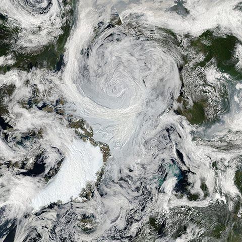 Summer Storm Spins Over Arctic.