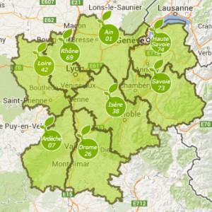 carte des entreprises engagées dans la Charte Bio Rhône-Alpes