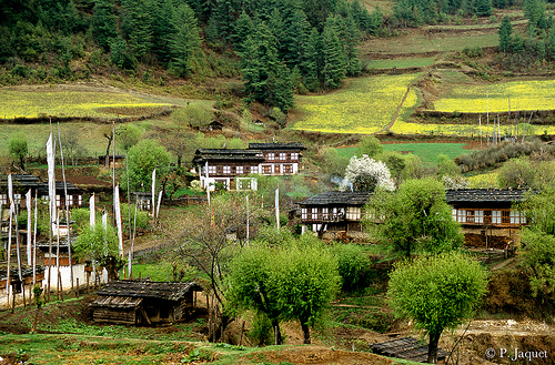 Le village d'Ugyen Choling, district de Bumthang CC : Pascale Jaquet & Olivier Noaillon