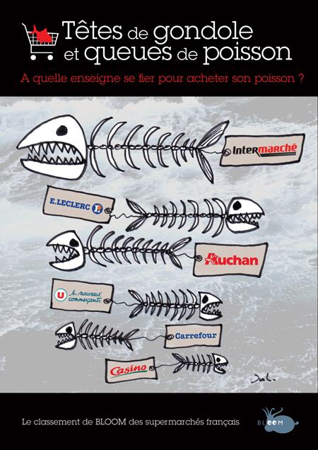Au classement Bloom des supermarchés face au commerce de poisson pêché en eaux profondes, Carrefour et CAsino arrivent en tête