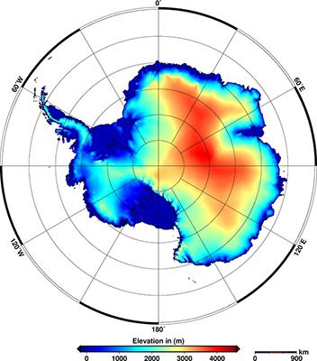Modélisation de l'altitude en Antarctique d'après CryoSat-2 (© Credit: Helm et al., The Cryosphere, 2014