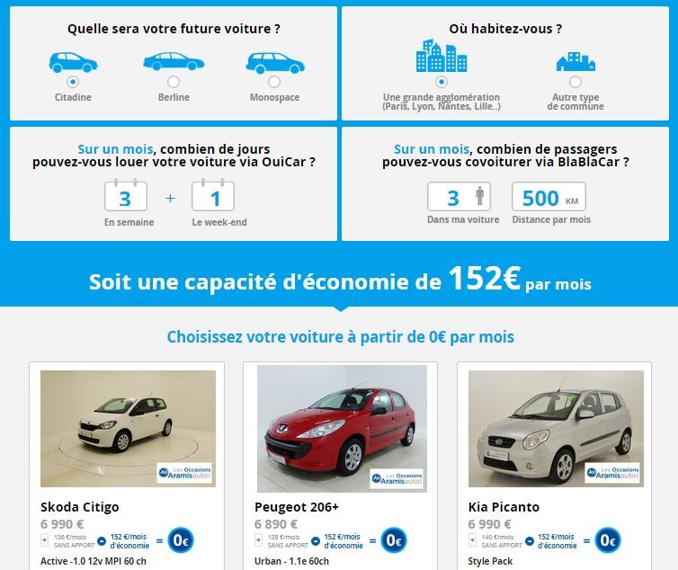 simulation voiture à zéro euro
