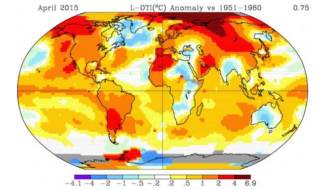 Anomalies de température pour avril 2015 par rapport à 1951-1980