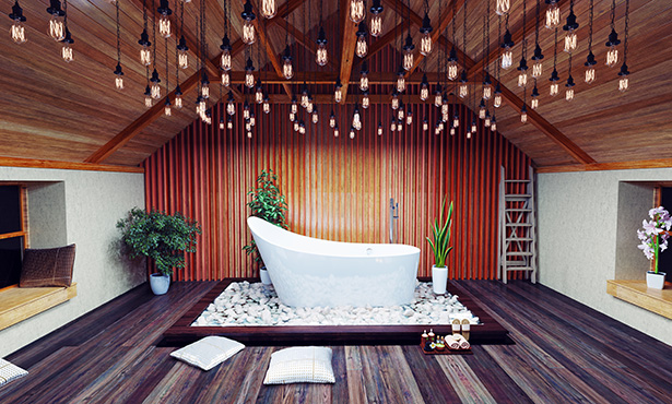 Salle de bain mettant à l'honneur le bois © Shutterstock http://www.shutterstock.com/fr/pic-247255288/stock-photo-beautiful-bath-in-the-attic-in-the-night-d-design-concept.html
