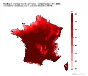 Le nombre de journées chaudes en France pourrait exploser d'ici 2100. Capture d'écran Climat HD