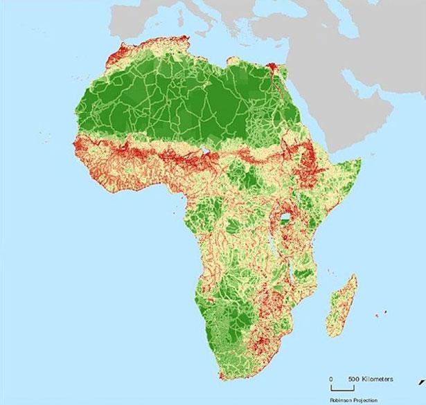 carte-nasa-indice-influence-humaine-afrique
