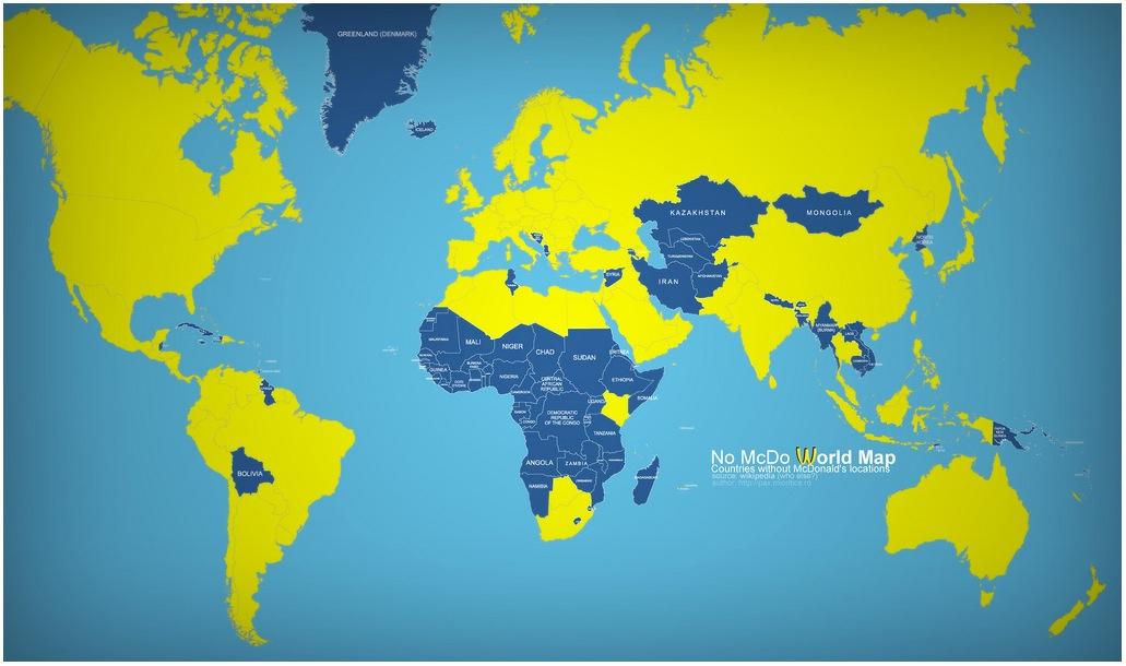 Carte des pays sans McDo © Wikipedia