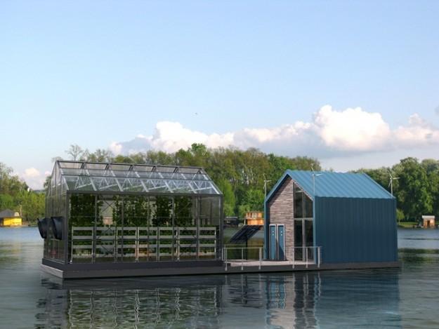 Une barge écologique produit des légumes organiques et de l'énergie verte dans le Danube