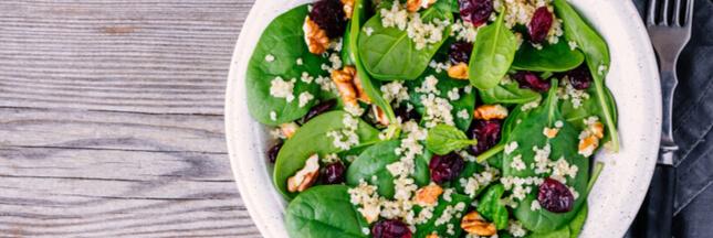 Recette bio: salade d'épinards au quinoa sauvage et à la spiruline