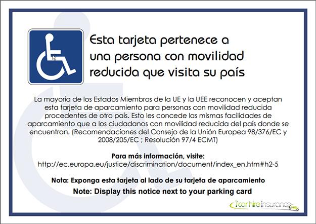 personnes à mobilité réduite carte parking
