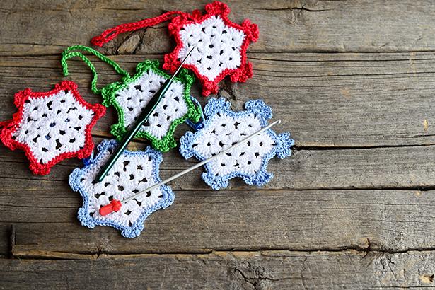déco sapin, étoiles, crochet, laine, DIY