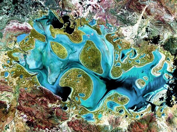 Le lac Carnegie vu de l'espace