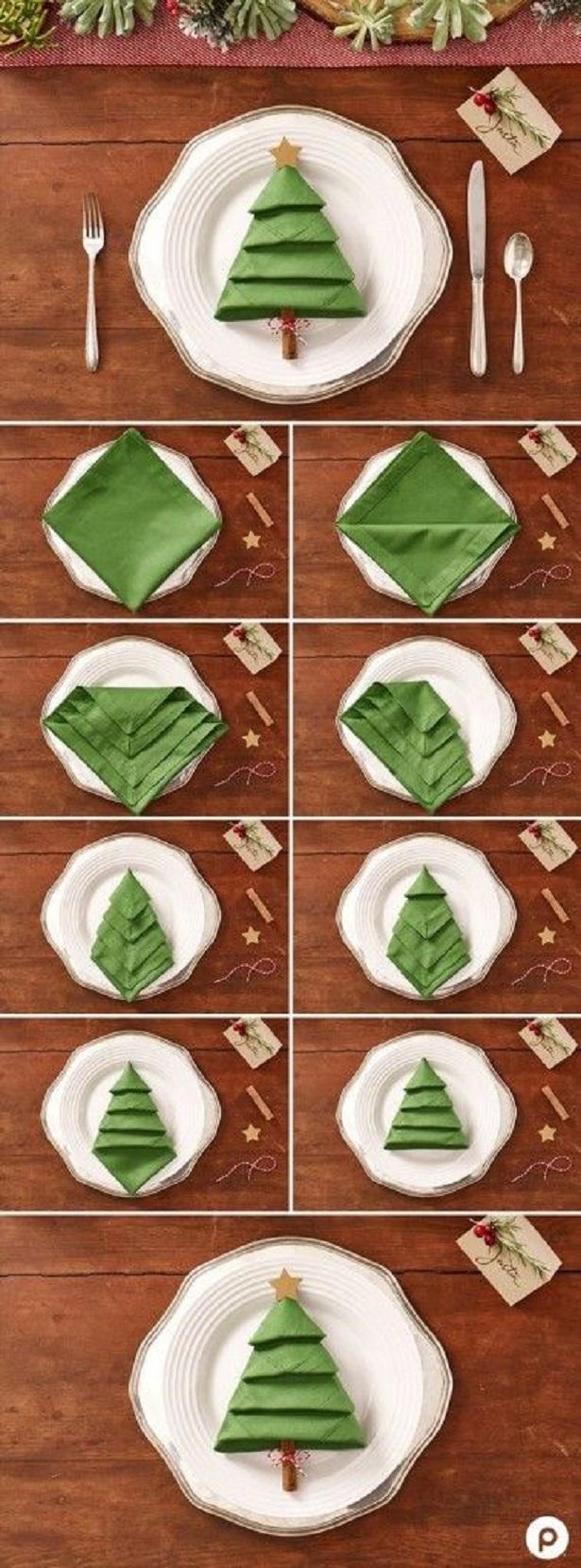 déco Noël rapide, DIY Noël Sapin Serviette en tissu
