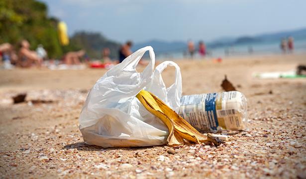 déchet sur la plage pollution environnementale, déchets, plastique à usage unique