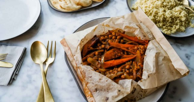Patate douce rôtie et curry de pois chiches